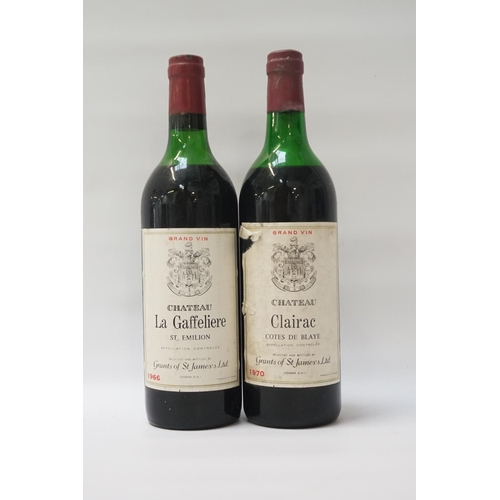 47 - TWO VINTAGE BORDEAUX comprising: one Chateau La Gaffeliere St. Emilion 1966 Vintage, No strength or ...