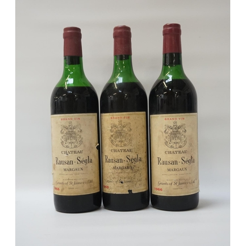 62 - CHATEAU RAUSAN-SEGLA MARGAUX 1966 Three bottles of Chateau Rausan-Segla Margaux 1966 Vintage.  No st...