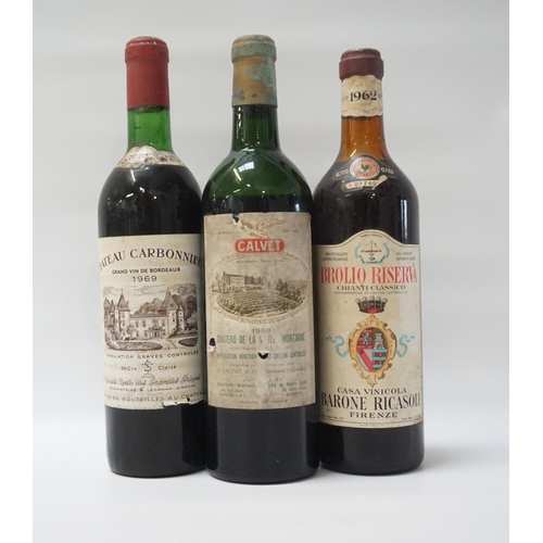 63 - THREE BOTTLES OF VINTAGE RED WINE A trio of bottles form France and Italy, comprising: one CALVET CH...