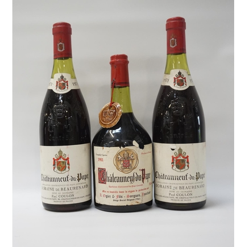 64 - THREE VINTAGE CHATEAUNEUF-DU-PAPE A trio of vintage bottles of red wine, comprising: two DOMAINE DE ...