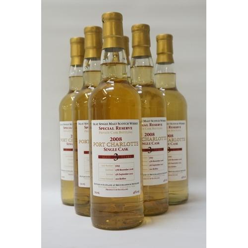 76 - PORT CHARLOTTE 2008 PRIVATE CASK  A case of six bottles of Port Charlotte 3 Year Old Single Malt Sco...