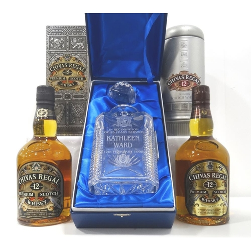 106 - TWO CHIVAS REGAL 12YO A pair of Chivas Regal 12 Year Old Blended Scotch Whisky in different presenta...
