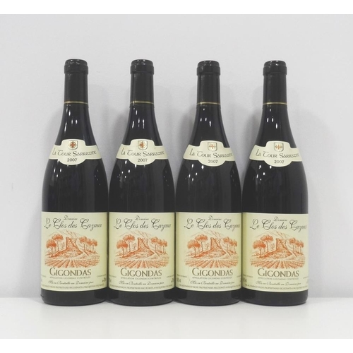 217 - DOMAINE LE CLOS DES CAZAUX LA TOUR SARRAZINE GIGONDAS 2007 Four bottles of a fantastic value wine fr...