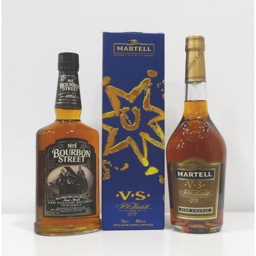 54 - COGNAC AND BOURBON One bottle of Martell V.S. Cognac.  70cl.  40% abv. In original carton.  Level mi...