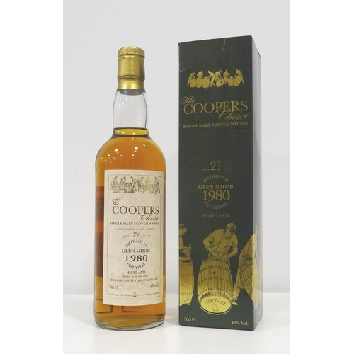 90 - GLEN MHOR 1980 - THE COOPER'S CHOICE A bottle of Glen Mhor 21 Year Old Single Malt Scotch Whisky.  7...