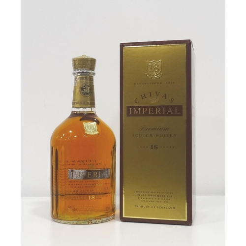 93 - CHIVAS IMPERIAL 18YO An unusual bottle of the Chivas Imperial 18 Year Old Blended Scotch Whisky.  70...