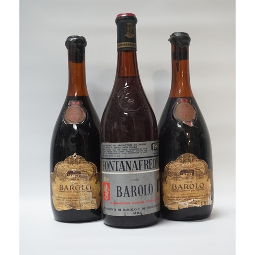 33 - SELECTION OF THREE BOTTLES OF VINTAGE BAROLO A selection of three Vintage bottles of Barolo, compris...