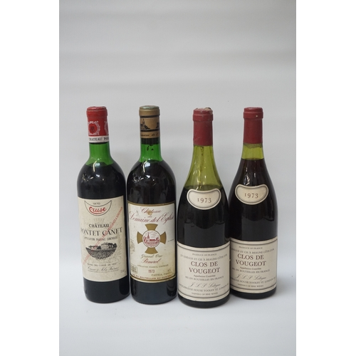 84 - FOUR BOTTLES OF VINTAGE RED WINE comprising: one bottle CRUSE CHATEAU PONTET CANET PAUILLAC 1970, 73...