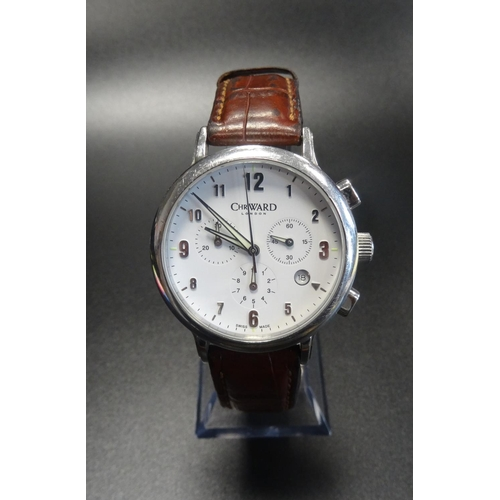 4 - GENTLEMAN'S CHRISTOPHER WARD LONDON CHRONOGRAPH WRISTWATCH the white dial with Arabic numerals, thre...