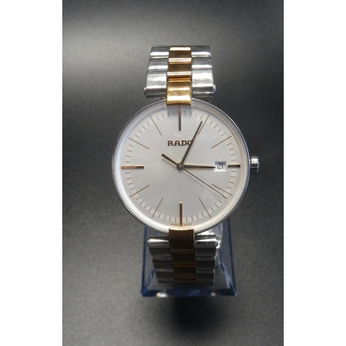 5 - GENTLEMAN'S RADO COUPOLE WRISTWATCH the silvered dial with baton five minute and smaller minute mark...