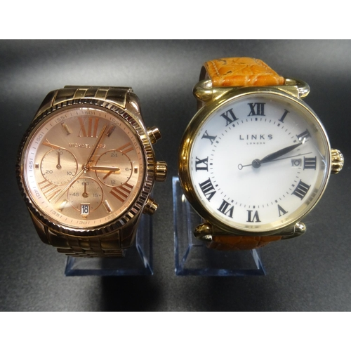 8 - TWO FASHION WATCHES comprising a Links of London Driver watch, the large white dial with roman numer...