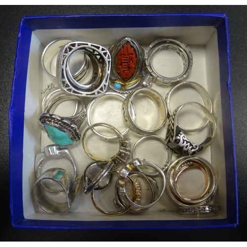 9 - GOOD SELECTION OF MOSTLY SILVER RINGS of various sizes and designs including turquoise and CZ set ex...