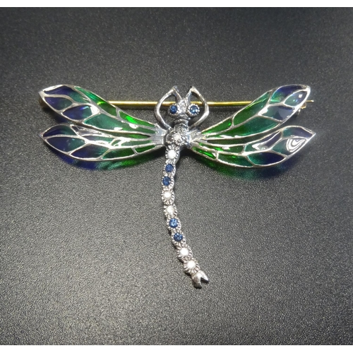 21 - DIAMOND, SAPPHIRE AND ENAMEL DRAGONFLY BROOCH the head and tale set with diamonds and sapphires, the...