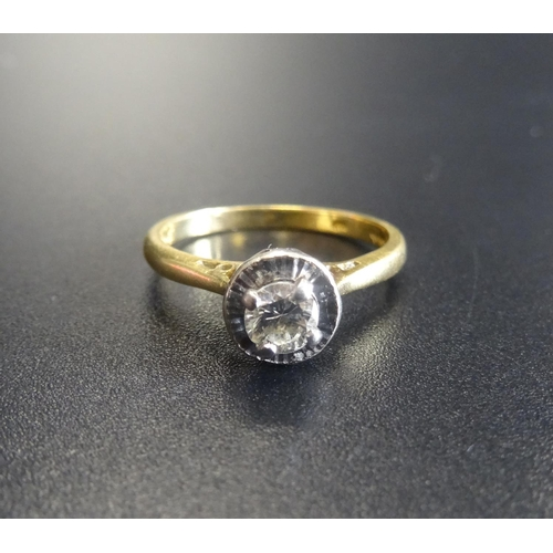33 - DIAMOND SOLITAIRE RING the round brilliant cut diamond approximately 0.22cts, in eighteen carat gold...