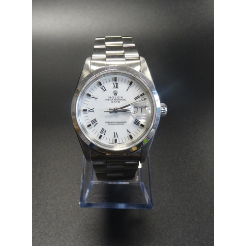 35 - GENTLEMAN'S ROLEX OYSTER PERPETUAL WRISTWATCH the circular white dial with Roman numerals and baton ...