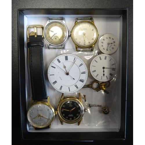 37 - SELECTION OF VINTAGE WATCHES, WATCH MOVEMENTS AND PARTS including a watch movement and dial, the mov...