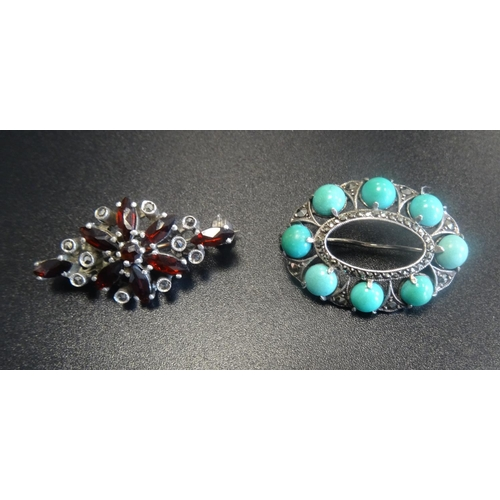 106 - TWO GEM SET SILVER BROOCHES comprising one with garnet and marcasite and another with turquoise and ...