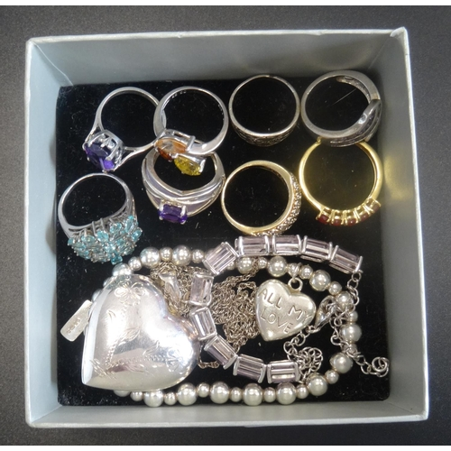 109 - GOOD SELECTION OF SILVER JEWELLERY comprising a diamond cluster ring in silver gilt, other gem set r...
