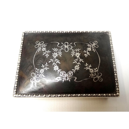 182 - EDWARD VII SILVER AND TORTOISESHELL TRINKET BOX the rectangular silver box with tortoiseshell cover ...
