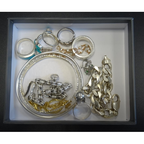 10 - SELECTION OF SILVER JEWELLERY including three turquoise set rings, a diamond set ring, bangles, brac...