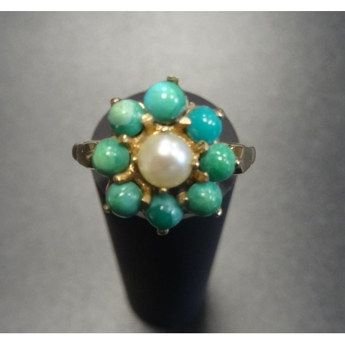 21 - TURQUOISE AND PEARL CLUSTER RING the central pearl in turquoise surround, on nine carat gold shank, ...