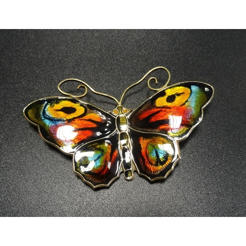 28 - DAVID ANDERSEN ENAMEL DECORATED SILVER GILT BUTTERFLY BROOCH with colourful enamel decoration, marke...