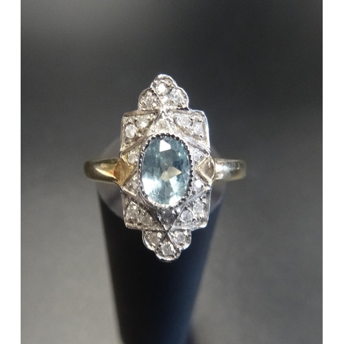 39 - ART DECO STYLE AQUAMARINE AND DIAMOND PLAQUE RING the central oval cut aquamarine in multi diamond s...