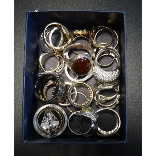 45 - SELECTION OF SILVER AND OTHER RINGS including stone set examples, 1 box...