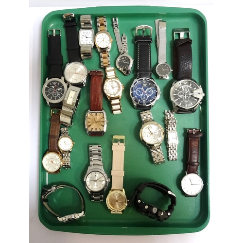 60 - SELECTION OF LADIES AND GENTLEMEN'S WRISTWATCHES including Emporio Armani, Limit, Bailey & Quinn, Di...
