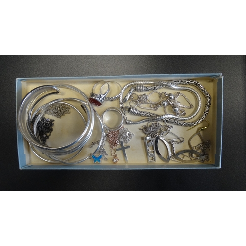 23 - SELECTION OF SILVER JEWELLERY including various bangles, bracelets, stone set and other rings, penda...
