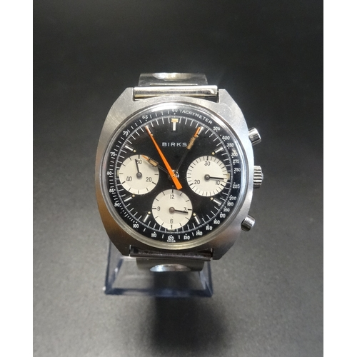 31 - GENTLEMAN'S ENICAR 'BIRKS OF CANADA' CHRONOGRAPH WRISTWATCH 1960s/70s, the black dial with subsidiar...