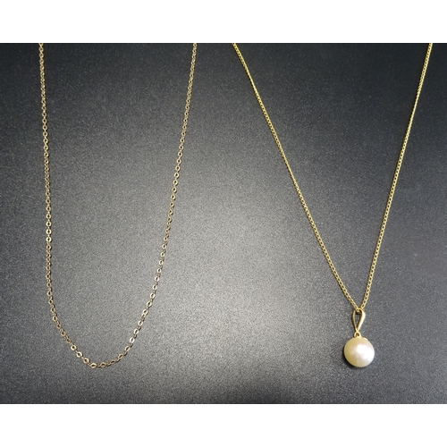 43 - PEARL DROP PEANDANT  in unmarked gold mount and on nine carat gold chain; together with another nine...