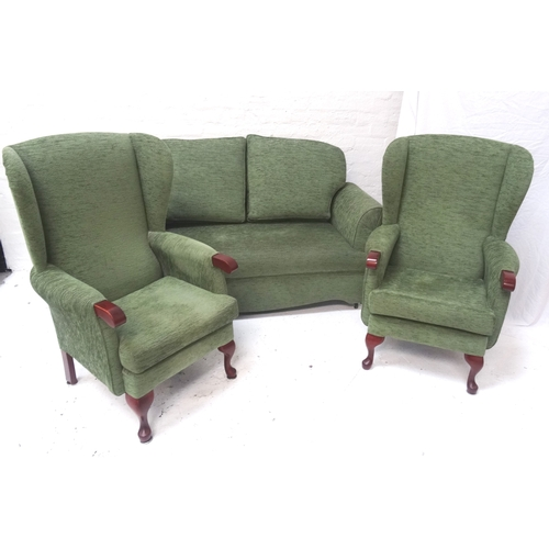 417 - HSL THREE PIECE SUITE comprising two wing back arm chairs on cabriole front supports and a two seat ...