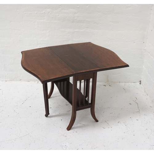 421 - MAHOGANY SUTHERLAND TABLE with shaped drop flaps, standing on splayed supports, 58.5cm wide...