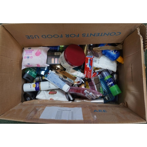 11 - ONE BOX OF USED AND NEW TOILETRY ITEMS including: YVES SAINT LAURENT; SOAP & GLORY; L'OREAL; MAC; NE...