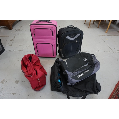 30 - SELECTION OF FIVE ITEMS OF LUGGAGE including: two suitcases and three holdalls.  Empty.  Including: ...