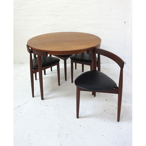 419 - CIRCULAR DANISH TEAK DINING TABLE AND CHAIR SUITE designed by Fren Rojle for Hans Olsen, comprising ...