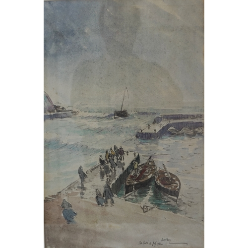 377 - JAMES MCBEY (Scottish 1883-1959) Port Erroll, watercolour, signed and dated 13 July 1922, 42.5cm x 2...