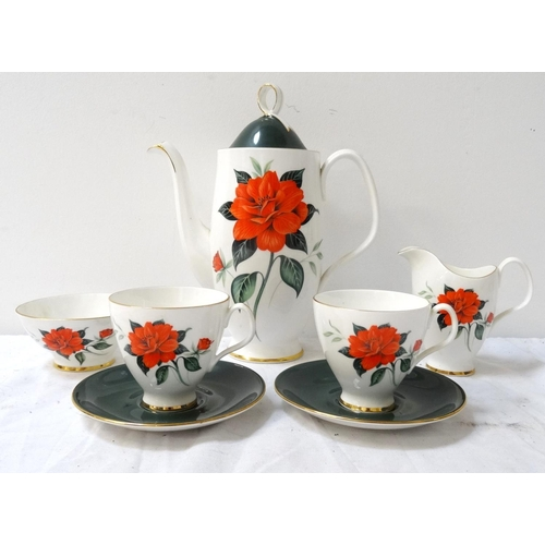 189 - ROYAL ALBERT COFFEE SERVICE decorated in the Tahiti pattern, comprising a coffee pot, six coffee can...