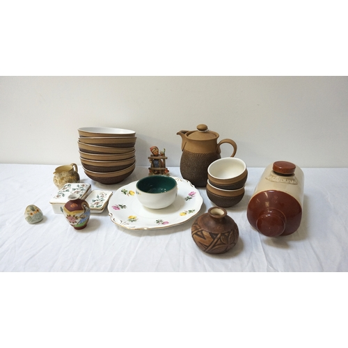 190 - DENBY PART BREAKFAST SET decorated in textured and speckled brown, some with foliage, comprising a t...