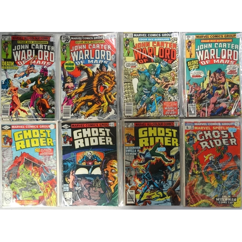375 - MARVEL COMICS - THE GHOST RIDER AND JOHN CARTER, WARLORD OF MARS dates ranging from 1970s - 90s; com...