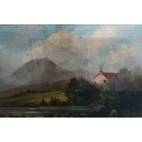 470 - C. FRASER Highland steading, oil on board, signed, 44cm x 67.5cm, together with A. HEGGIE, Flat hall...
