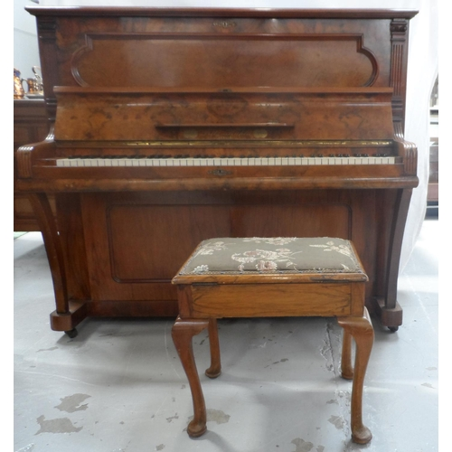 490 - FRITZ KUHLA OF BERLIN BURR WALNUT UPRIGHT PIANO with an iron frame, numbered 13628, together with a ...
