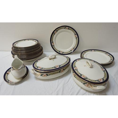 193 - ALFRED MEAKIN DINNER SERVICE in the Bleu De Roi pattern comprising plates, soup bowls, dessert bowls...