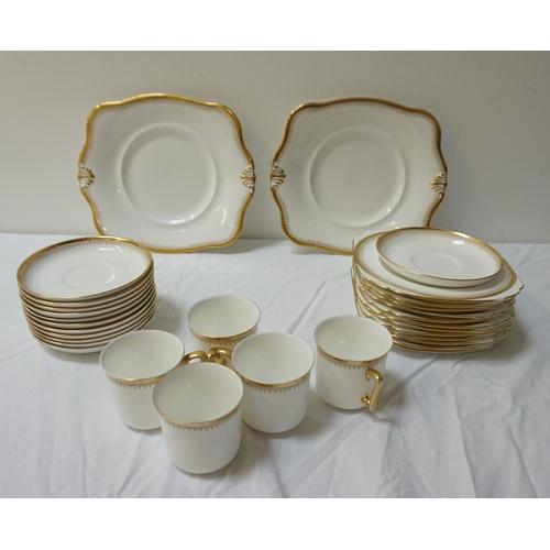 194 - TUSCAN PORCELAIN TEA SERVICE the white ground with gilt highlights, comprising tea cups and saucers,...