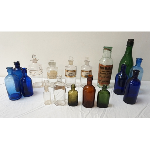 197 - SELECTION OF PHARMACY AND OTHER COLOURED GLASS BOTTLES including 'Formalin Throat Tablets', 'Acid Hy...