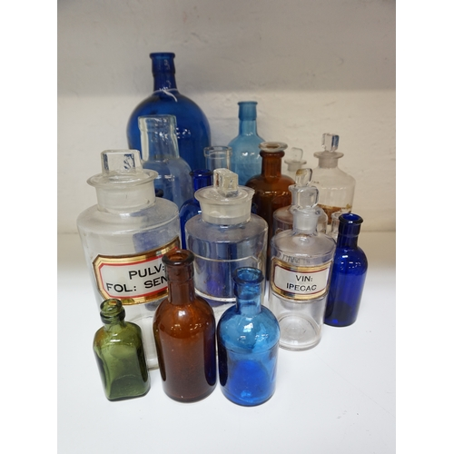 200 - SELECTION OF PHARMACY AND OTHER COLOURED GLASS BOTTLES including 'Vin: Ipecac', 'Acid: Phosph: Dil:'...