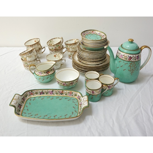 202 - AYNSLEY PART COFFEE SERVICE the duck egg green ground with a floral border and gilt highlights, sign...