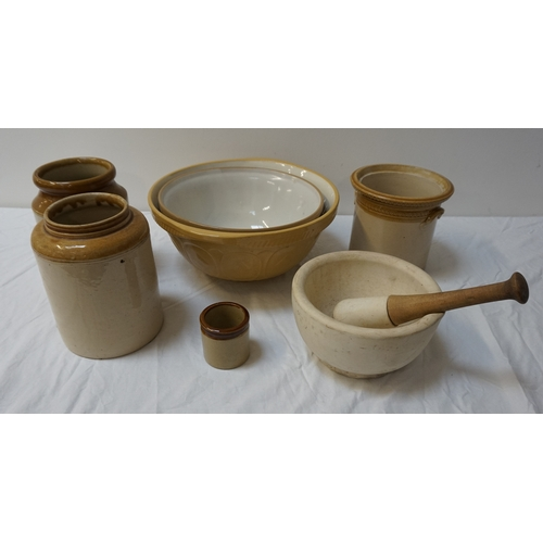 203 - SELECTION OF CERAMICS including a large mortar and pestle; three stoneware jars, one marked Caledoni...