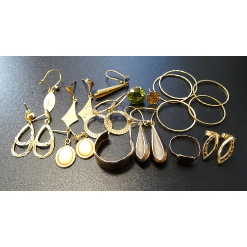18 - SELECTION OF GOLD JEWELLERY comprising six pairs of nine carat gold earrings, 6.9 grams; five single...